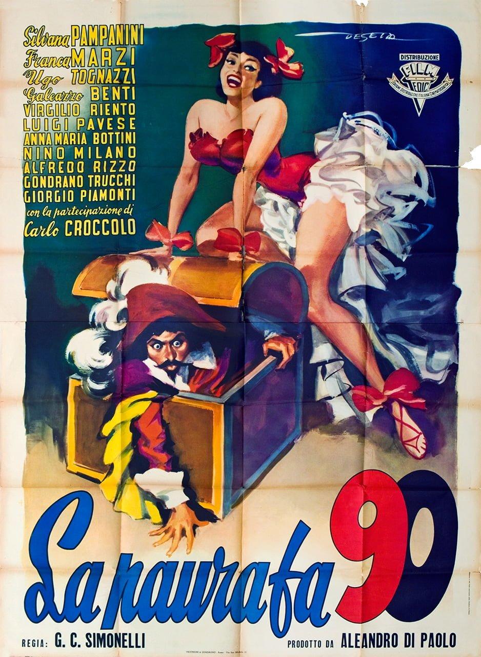 La paura fa 90 - Manifesto di Enrico De Seta per uno dei primi film con Ugo Tognazzi