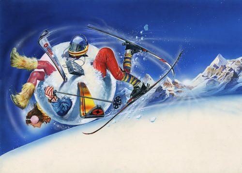 Vacanze sulla neve - Illustrazione di Renato Casaro