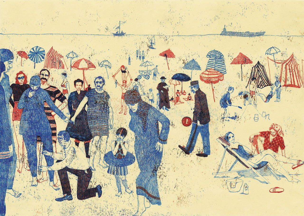 Birkini plage - Illustrazione di Sylvie Bello
