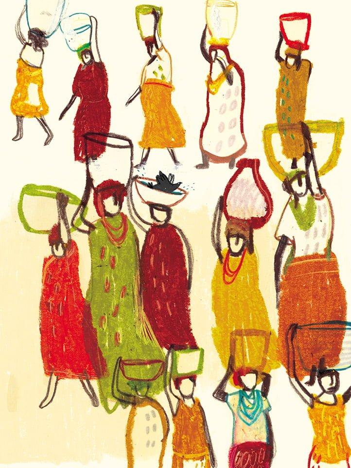 La piazza 02 - Illustrazione di Giulia Pastorino
