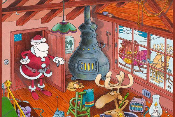 Babbo Natale e la renna - Illustrazione di Mordillo (@Mordillo Foundation)
