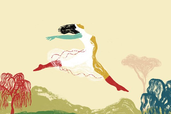 Il salto - Serigrafia di Elisa Talentino realizzata in occasione della mostra Affiche di Tapirulan